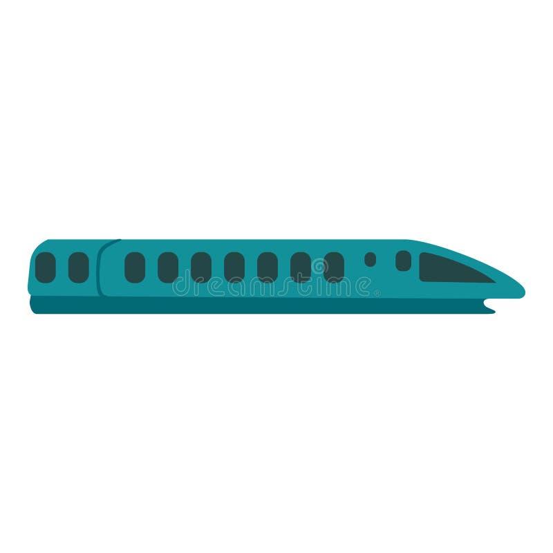Значок поезда скорости, плоский стиль иллюстрация штока