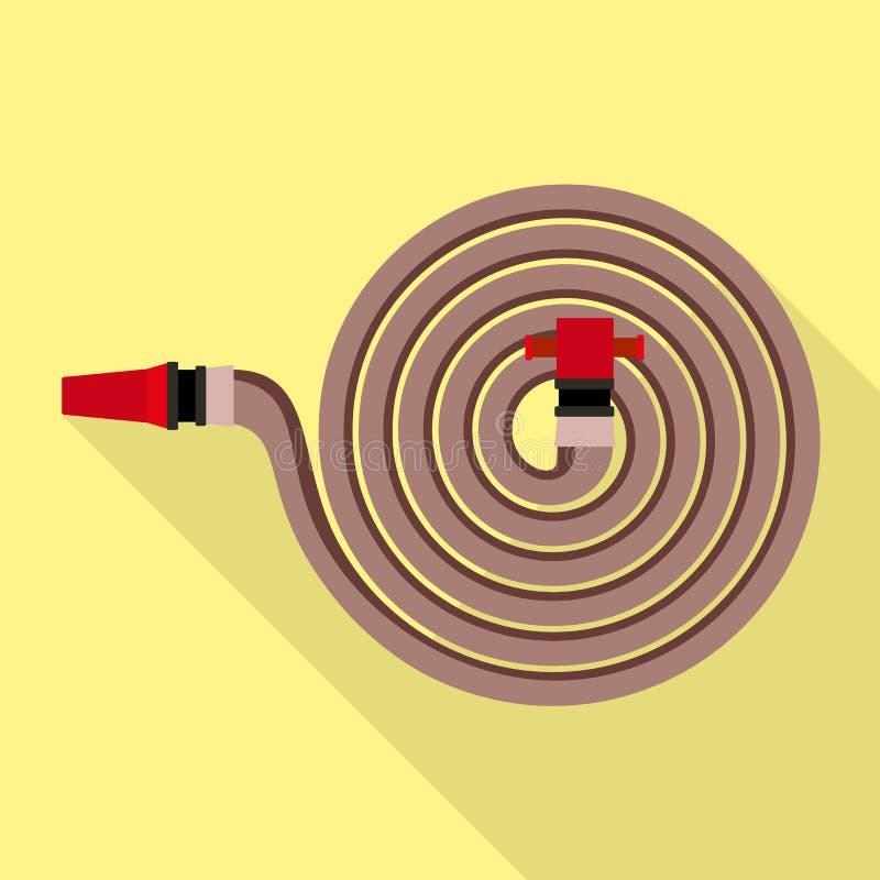 Значок пожарного рукава, плоский стиль иллюстрация вектора