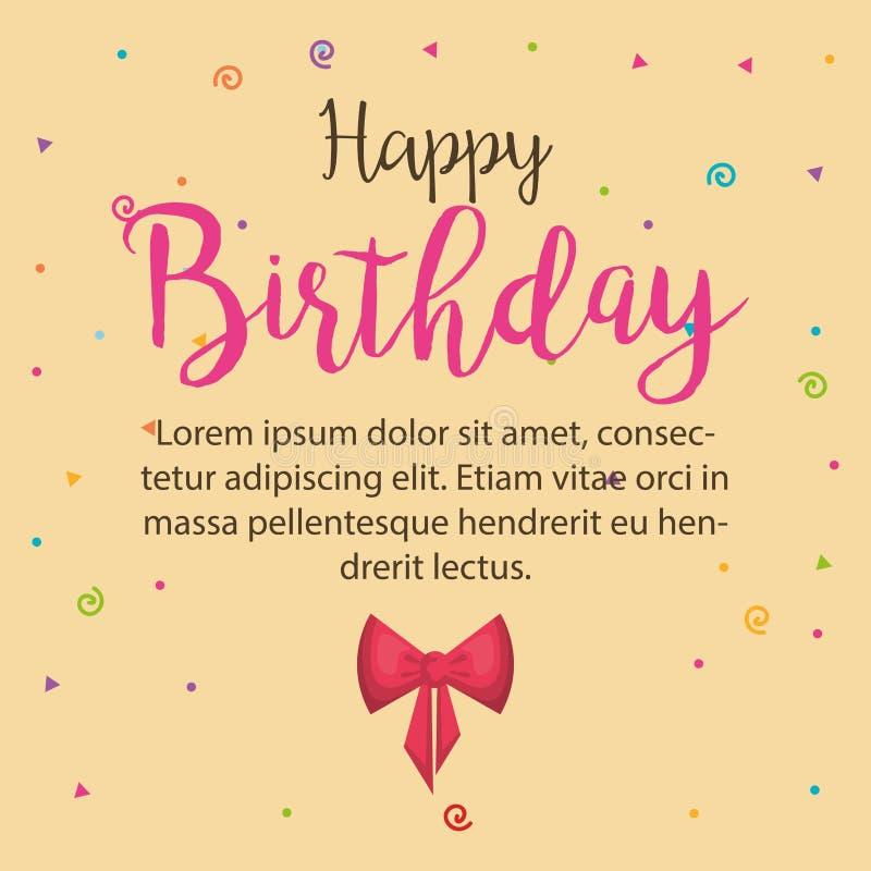 Значок поздравительой открытки ко дню рождения с днем рождений иллюстрация штока