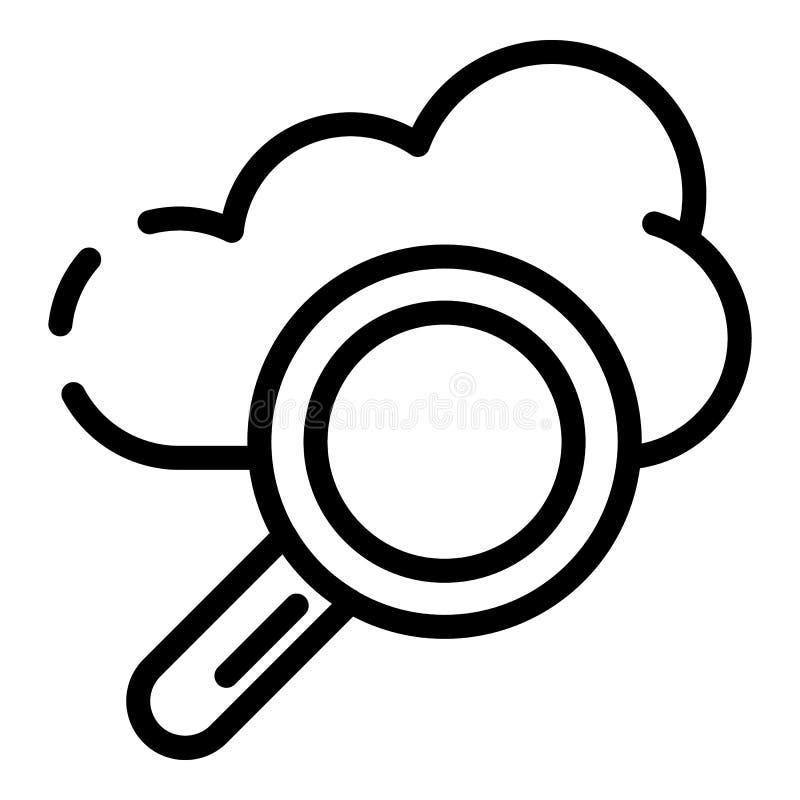 Значок поиска облака, стиль плана бесплатная иллюстрация