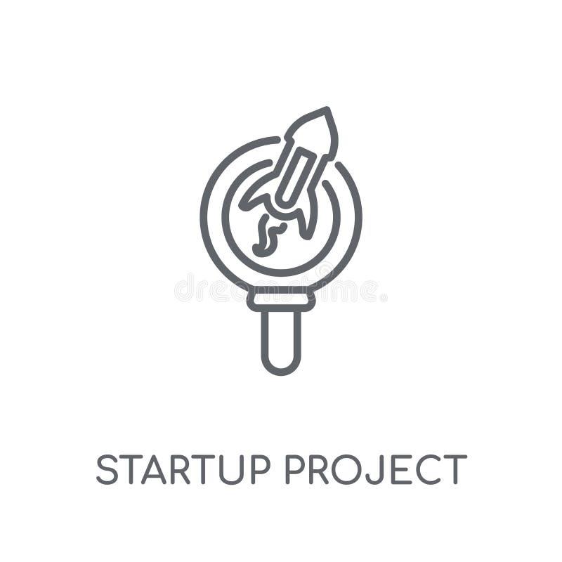 значок поиска проекта запуска линейный Современный запуск Proje плана бесплатная иллюстрация