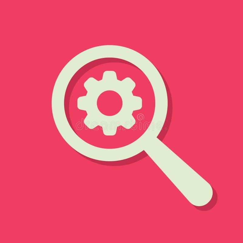 Значок поиска с знаком установок Ищите значок и подгоняйте, настраивайте, управляйте, обрабатывайте концепцию иллюстрация вектора
