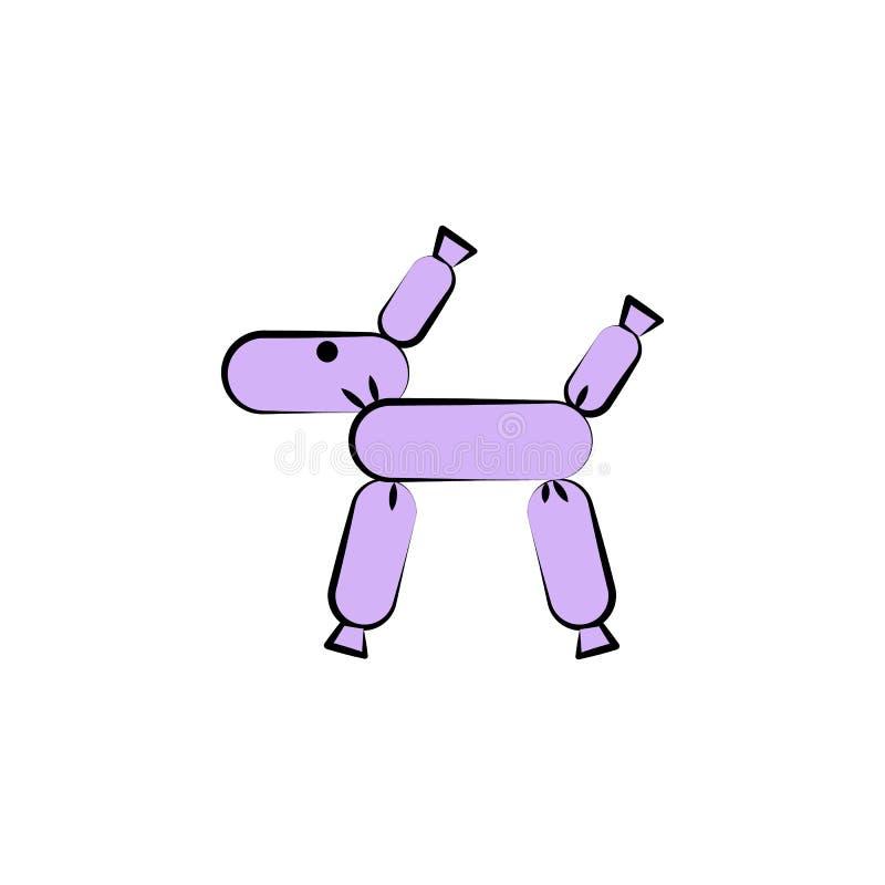 значок покрашенный шарик-собакой Элемент покрашенного значка цирка для передвижных apps концепции и сети Значок шарик-собаки цвет иллюстрация штока