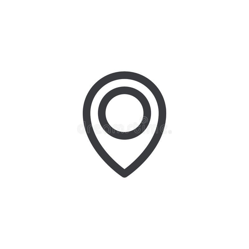 Значок положения контурной карты Бирка положения Элемент для интерфейса вебсайта app ui дизайна Расположите штырь иллюстрация вектора
