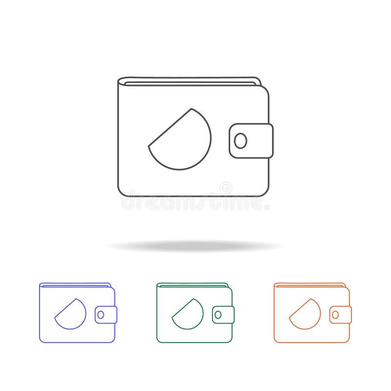 Значок портмона Элементы банка в multi покрашенных значках Наградной качественный значок графического дизайна Простой значок для  бесплатная иллюстрация