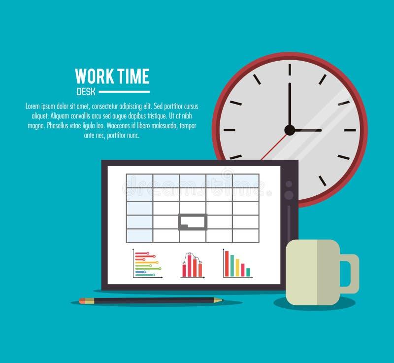 Значок поставки времени конторской работы таблетки, вектор иллюстрация штока