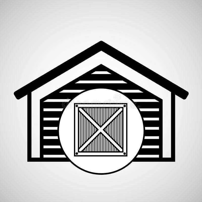 Значок поставки деревянной коробки складского здания иллюстрация штока