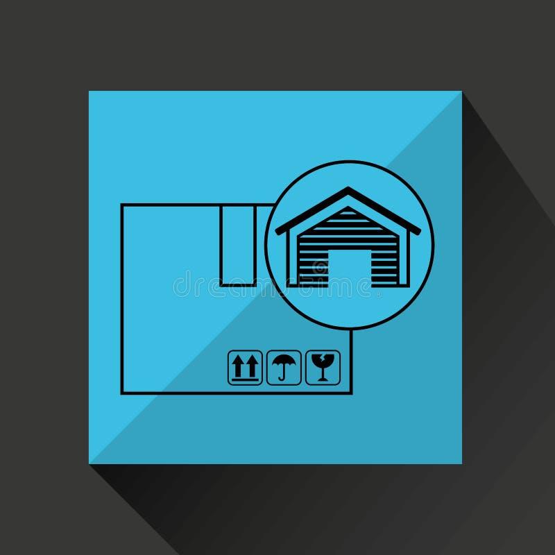 Значок поставки картонной коробки складского здания иллюстрация штока