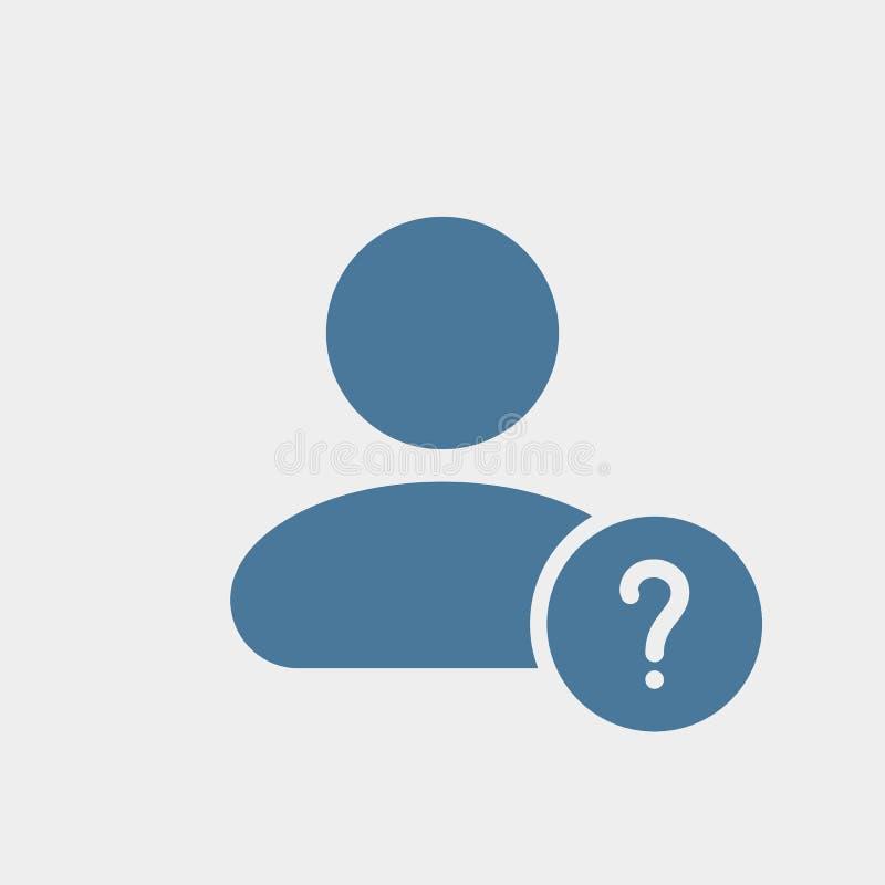 Значок потребителя с вопросительным знаком Значок и помощь потребителя, как к, информация, концепция запроса иллюстрация вектора
