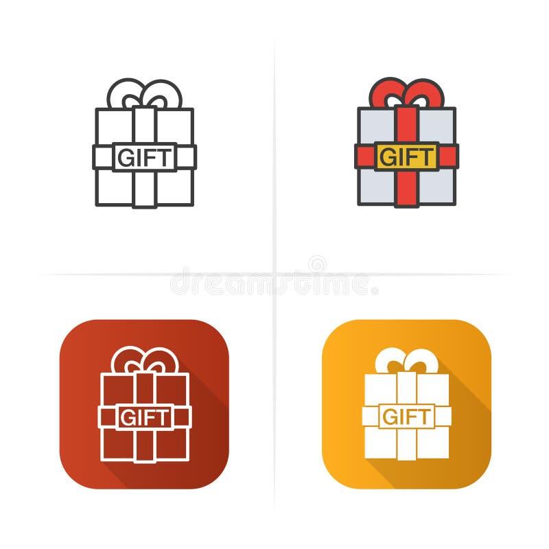 Значок подарочной коробки Плоские стили дизайна, линейных и цвета Изолированные иллюстрации вектора иллюстрация штока
