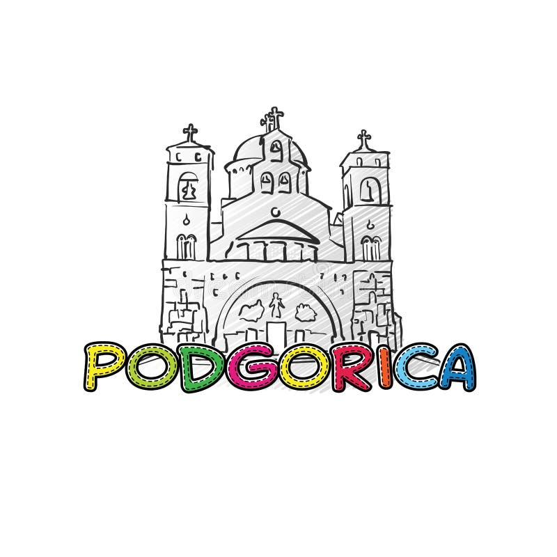 Значок Подгорицы красивый сделанный эскиз к иллюстрация штока