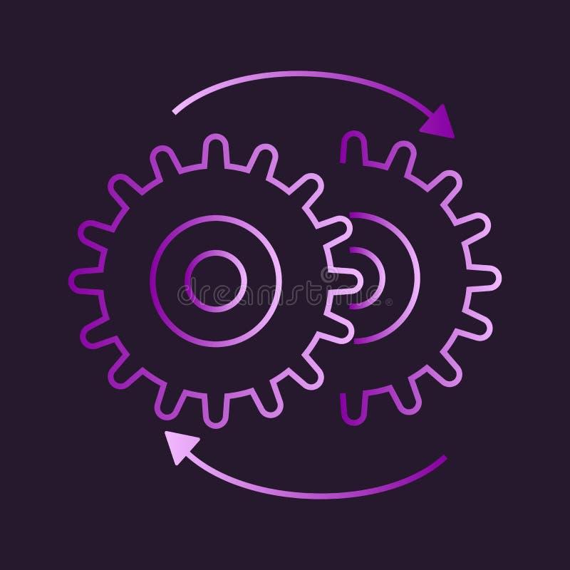 Значок по часовой стрелке шестерней иллюстрация штока