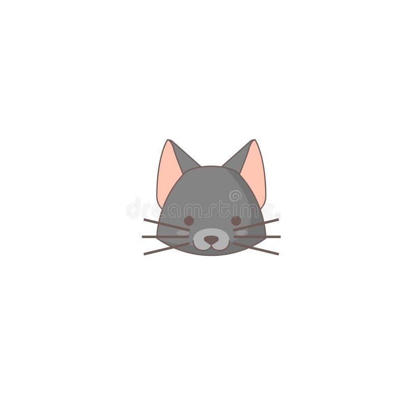 Значок праздника хеллоуина, значок кота иллюстрация вектора