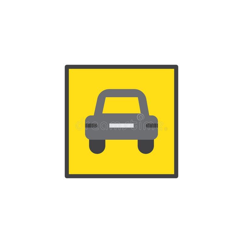Значок предупредительного знака автомобиля плоский бесплатная иллюстрация