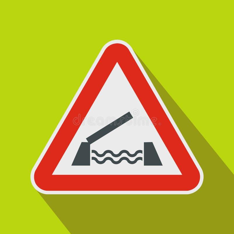 Значок предупредительного знака поднимаясь моста, плоский стиль бесплатная иллюстрация