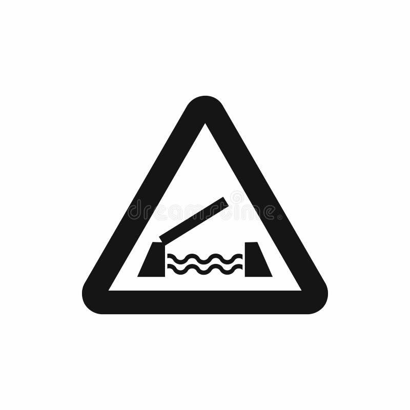 Значок предупредительного знака поднимаясь моста, простой стиль иллюстрация штока