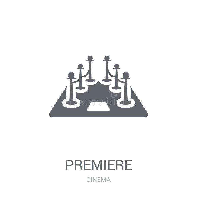 Значок премьеры Ультрамодная концепция логотипа премьеры на белой предпосылке иллюстрация штока