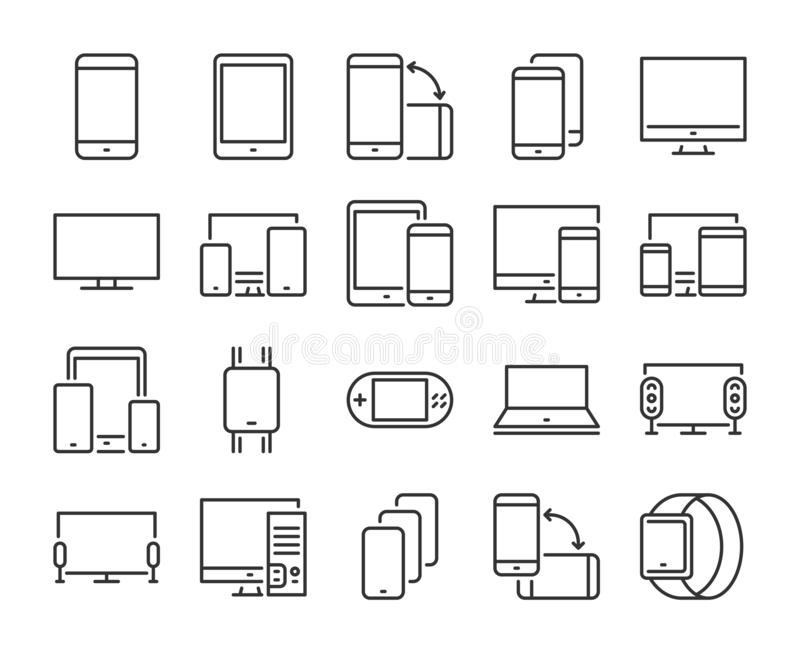 Значок прибора Электронный и прибор выровняйте набор значков : r иллюстрация штока