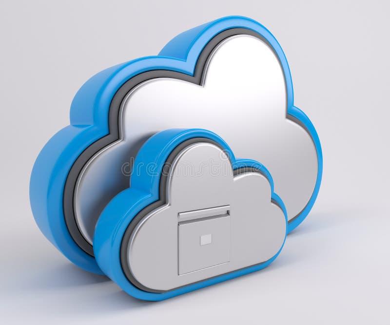 значок привода облака 3D иллюстрация вектора