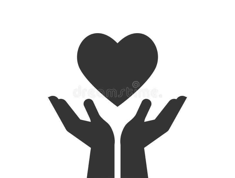 Значок призрения, давать и пожертвования при руки держа красное сердце иллюстрация вектора