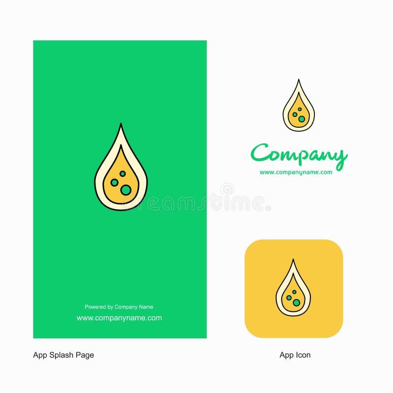 Значок приложения логотипа компании падения воды и дизайн страницы выплеска r бесплатная иллюстрация