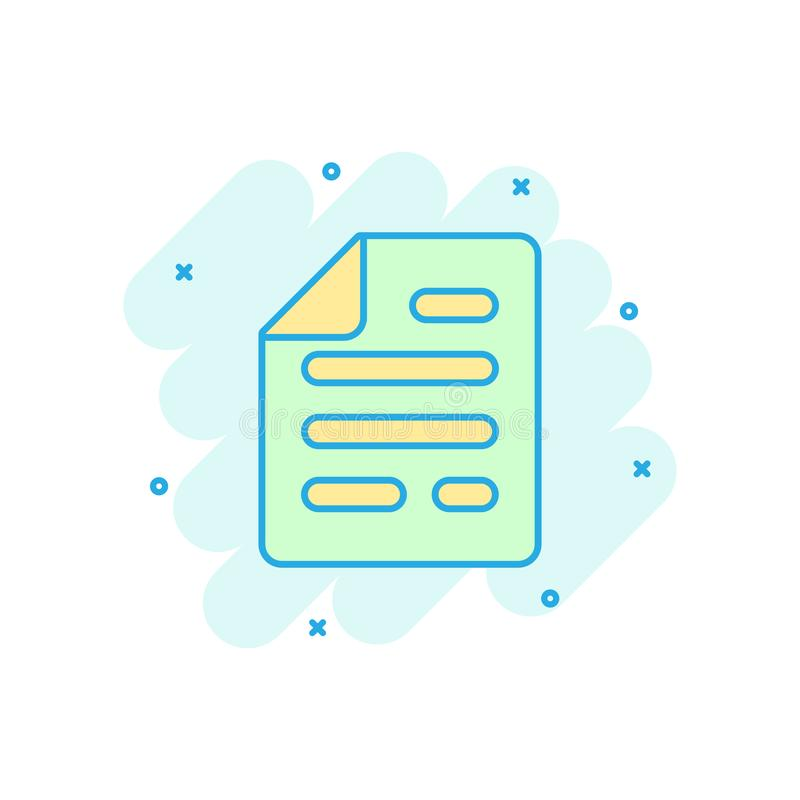 Значок примечания документа в шуточном стиле Бумажная пиктограмма иллюстрации мультфильма вектора листа Выплеск концепции дела до иллюстрация вектора