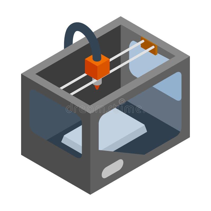 значок принтера 3d, равновеликий стиль 3d иллюстрация вектора