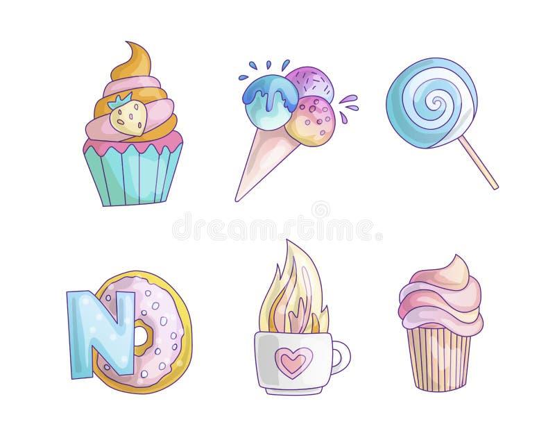 Значок принцессы милого мультфильма маленький установил - помадки сладкие мороженое, торт, коктейли, донут и леденец на палочке М бесплатная иллюстрация