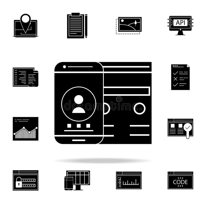 значок приспособительного интерфейса Комплект значков развития сети всеобщий для сети и черни иллюстрация вектора
