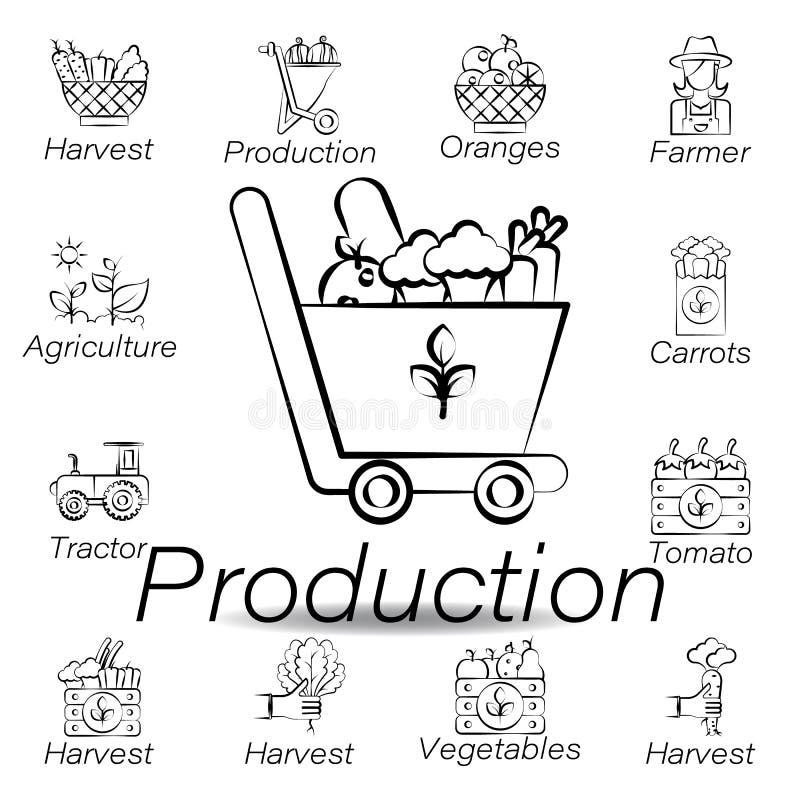 значок притяжки руки продукции Элемент обрабатывать землю значки иллюстрации r иллюстрация вектора