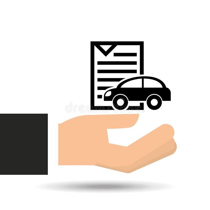 Значок программного документа автомобиля страхования иллюстрация вектора