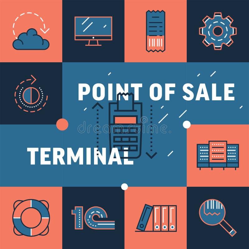 Значок продажи терминального пункта с оплатой NFC подписывает внутри минимальный ультрамодный стиль иллюстрация вектора