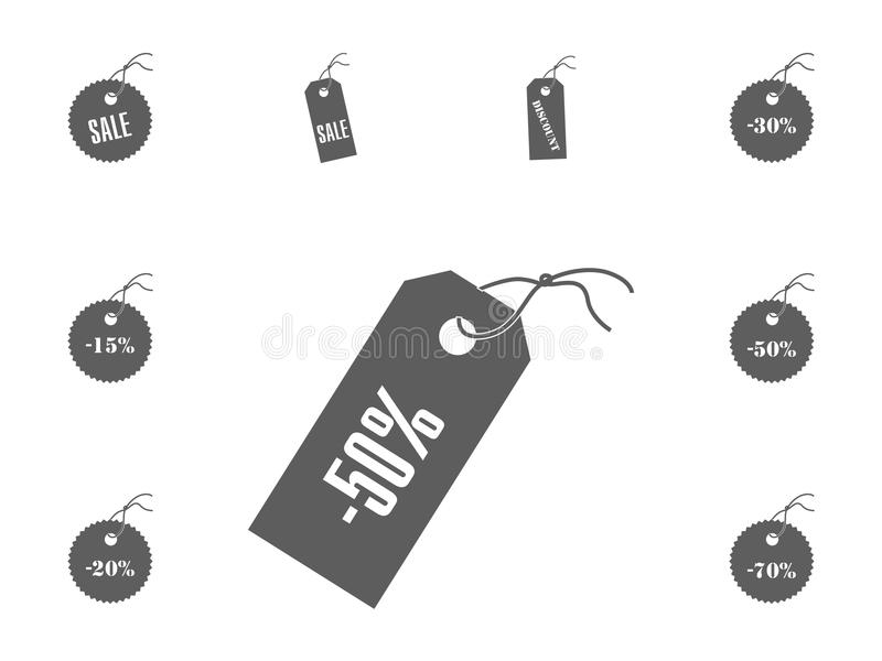 значок 50 продаж Установленные значки иллюстрации вектора продажи и скидки стоковое фото rf