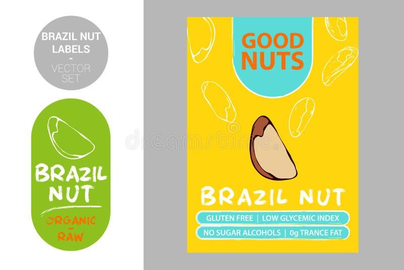 Значок продукта гайки Бразилии с текстом: клейковина свободная, низкий гликемический индекс, отсутствие алкоголей сахара, сала тр иллюстрация штока