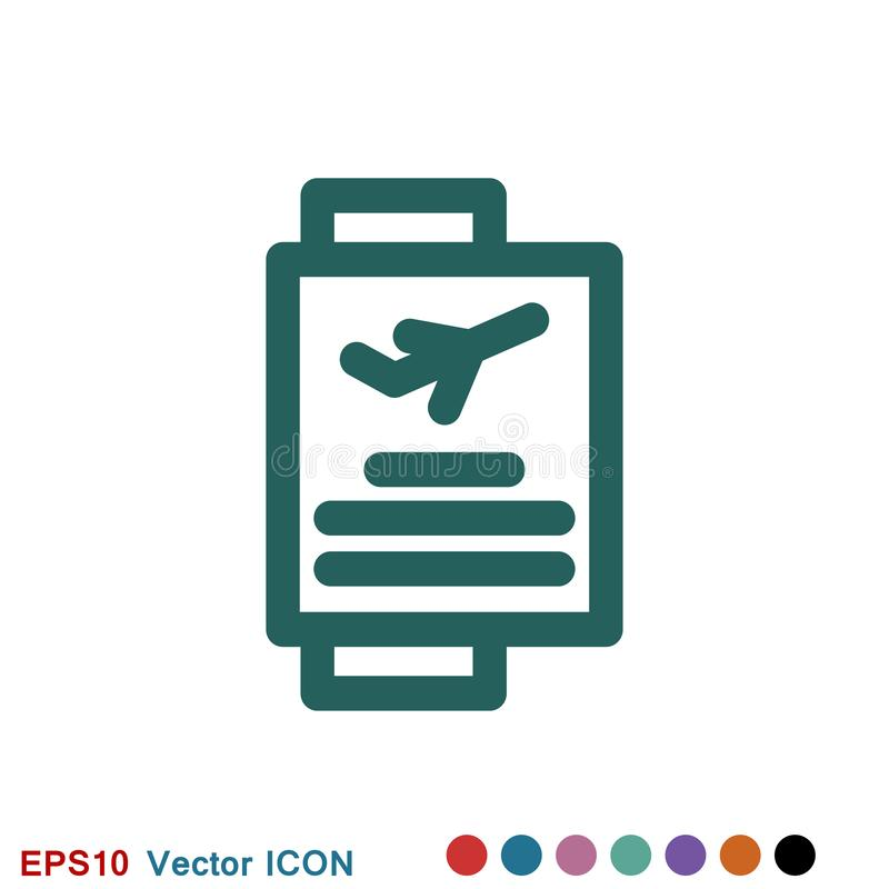 Значок проездных документов, паспорт с билетов изолированным значком плоско Перемещение и туризм концепции иллюстрация штока