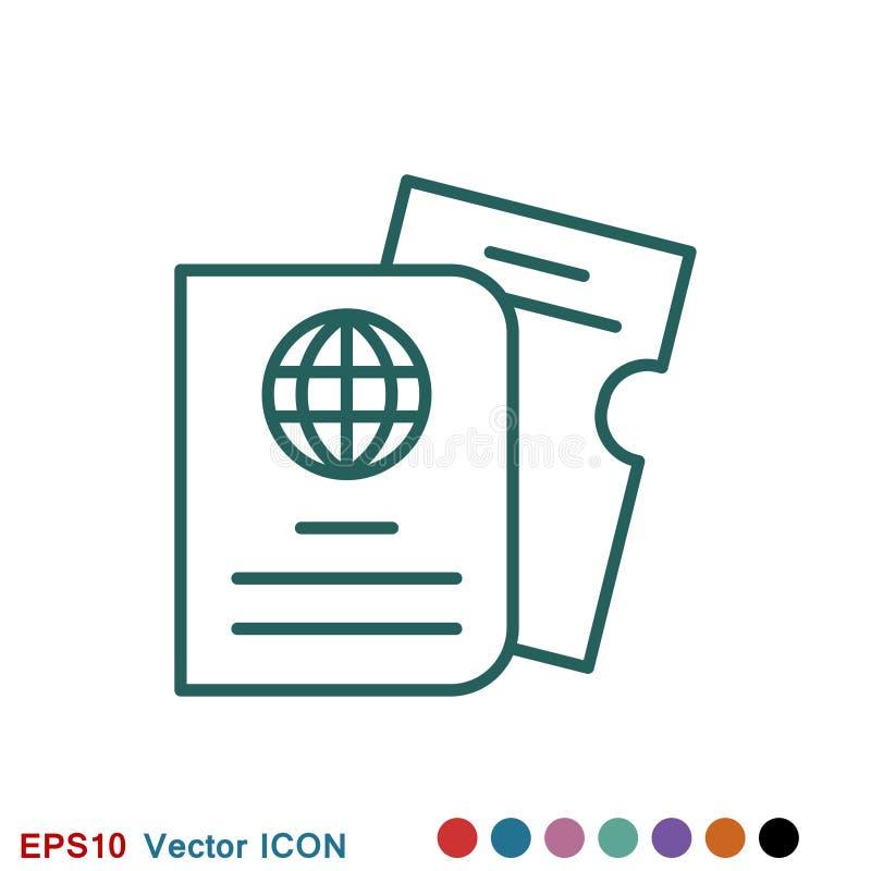 Значок проездных документов, паспорт с билетов изолированным значком плоско Перемещение и туризм концепции бесплатная иллюстрация