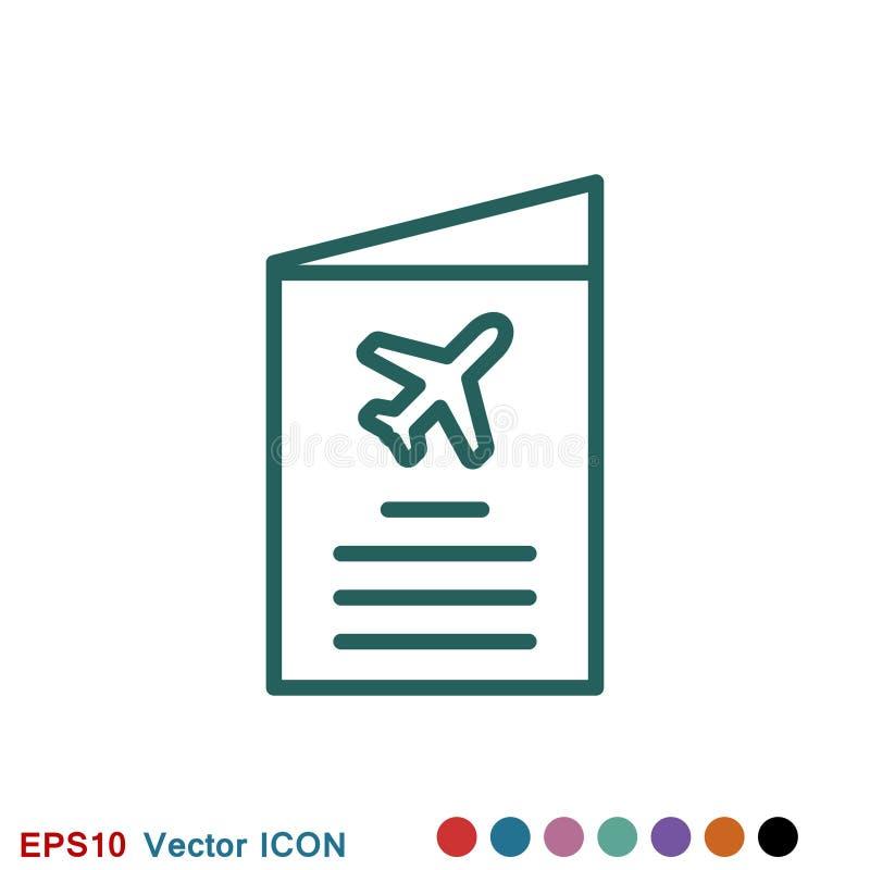 Значок проездных документов, паспорт с билетов изолированным значком плоско Перемещение и туризм концепции иллюстрация вектора