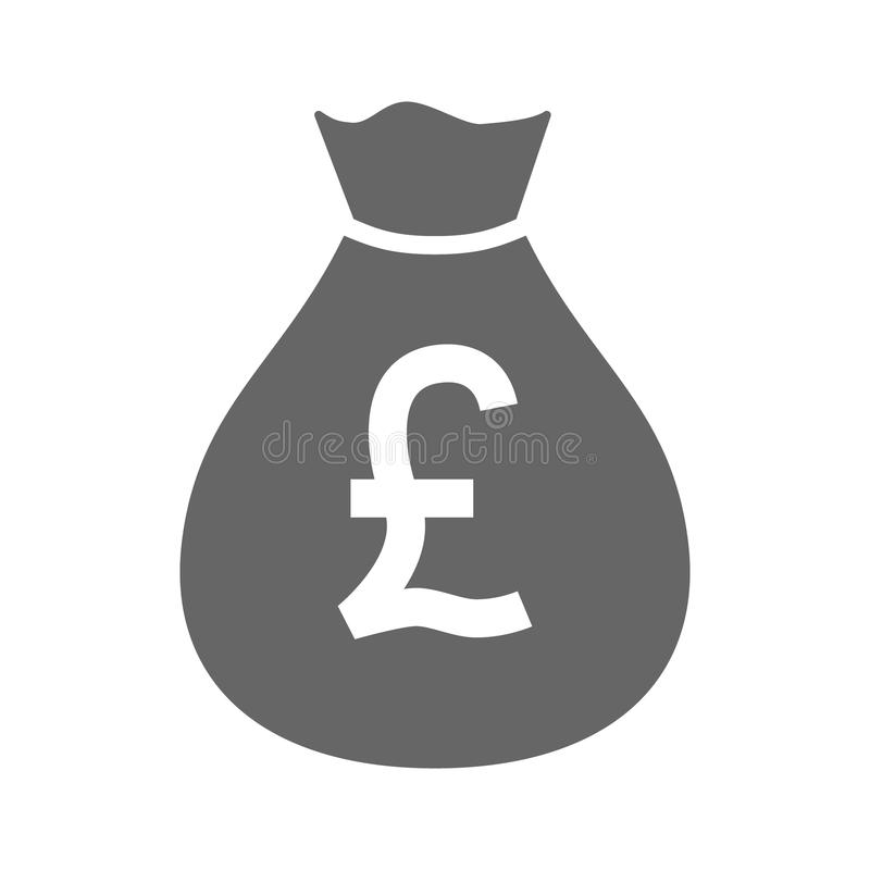 Значок простого дизайна валюты сумки денег значок moneybag фунта Великобритании бесплатная иллюстрация