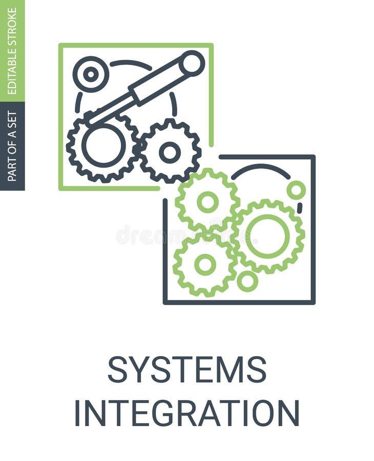 Значок простых систем Integartion с милым линейным стилем бесплатная иллюстрация