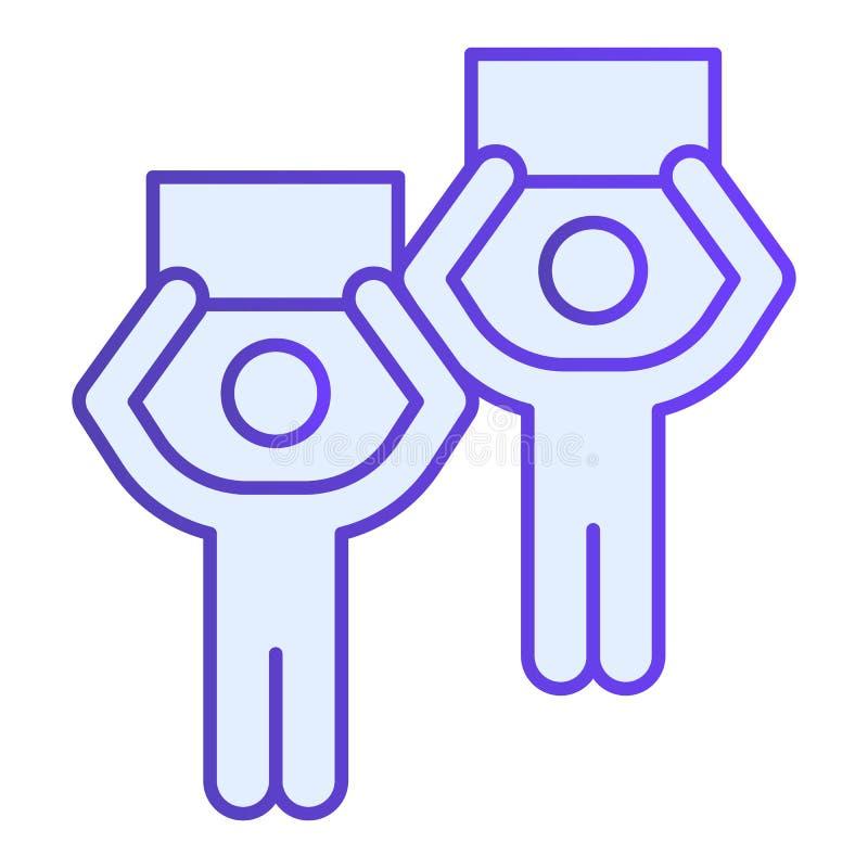 Значок протестующих плоский Люди со значками знамен голубыми в ультрамодном плоском стиле Дизайн стиля градиента забастовки, конс бесплатная иллюстрация