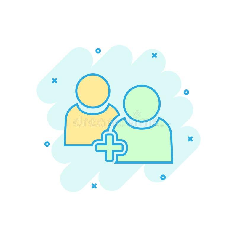 Значок профиля пользователя связи людей в шуточном стиле Люди с добавочной пиктограммой иллюстрации мультфильма вектора знака пар иллюстрация штока