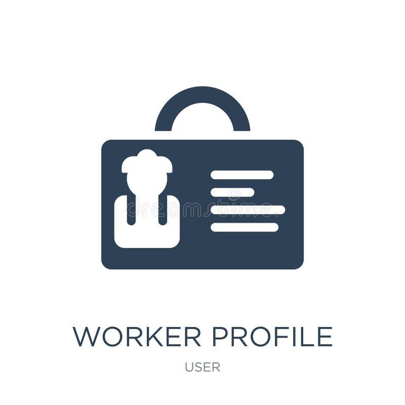 значок профиля работника в ультрамодном стиле дизайна значок профиля работника изолированный на белой предпосылке значок вектора  иллюстрация вектора