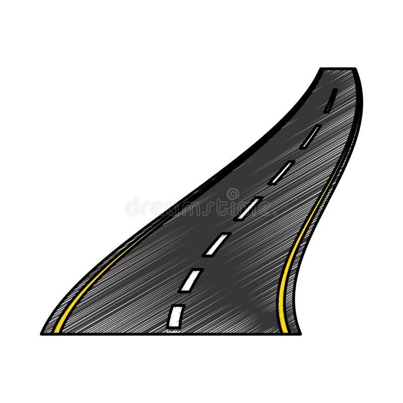 Значок прямой дороги изолированный иллюстрация штока