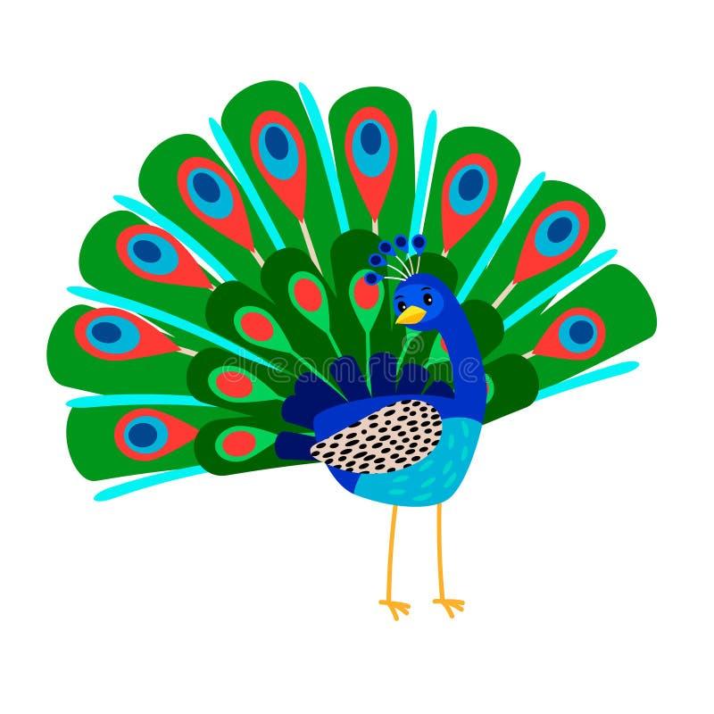 Значок птицы павлина шаржа иллюстрация вектора