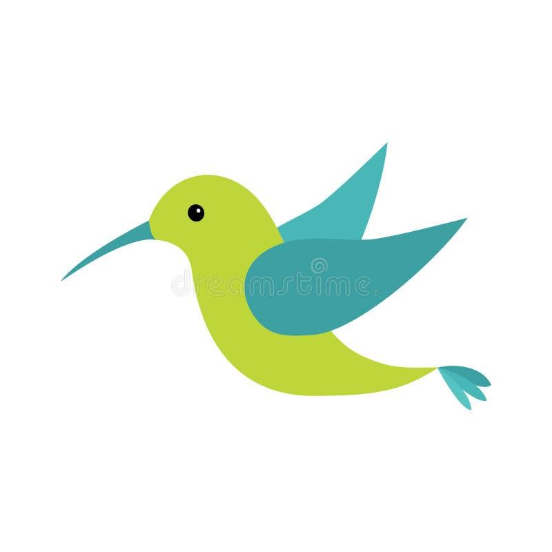 Значок птицы Colibri Милый персонаж из мультфильма Логотип колибри иллюстрация штока