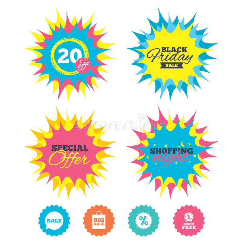 Download Значок пузыря речи продажи Символ звезды скидки Иллюстрация вектора - иллюстрации насчитывающей info, покупка: 81805485
