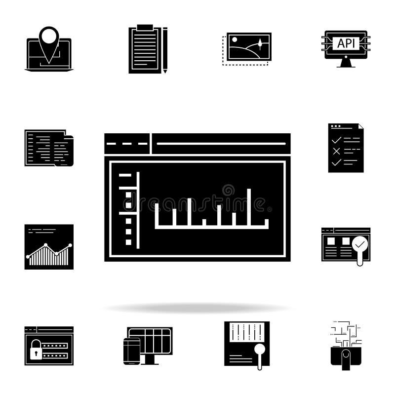 значок пульта управления admin Комплект значков развития сети всеобщий для сети и черни иллюстрация штока