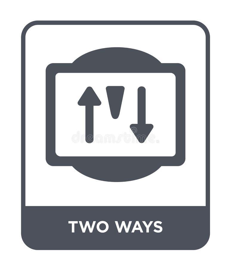 значок 2 путей в ультрамодном стиле дизайна значок 2 путей изолированный на белой предпосылке квартира значка вектора 2 путей про бесплатная иллюстрация