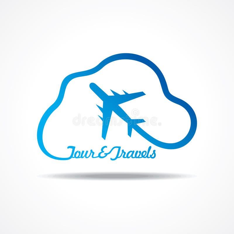 Значок путешествия и туризма с облаком иллюстрация штока