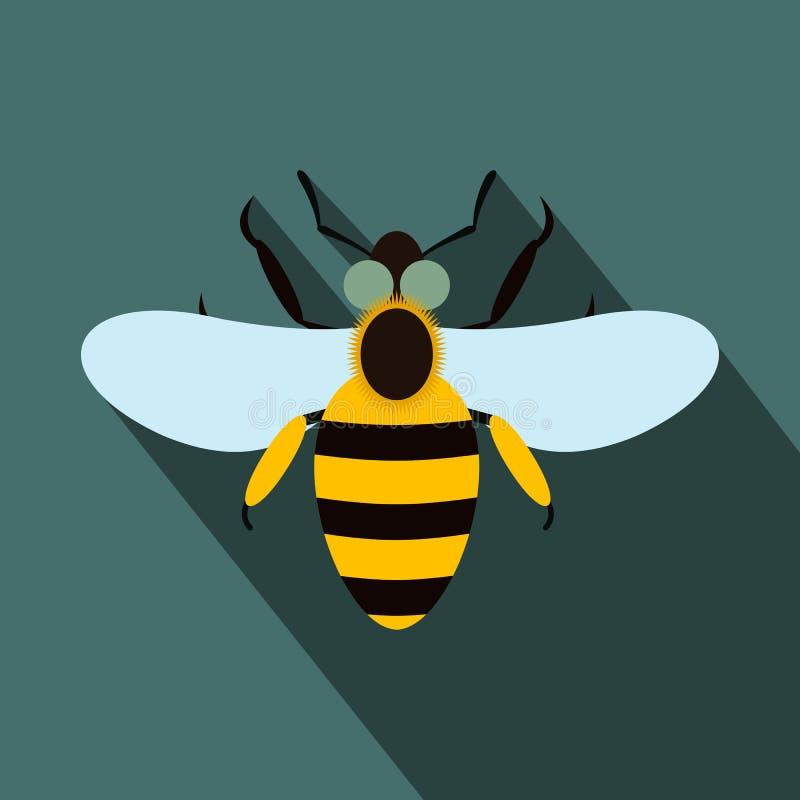 Значок пчелы плоский иллюстрация вектора